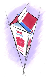 En melkekartong tegnet i perspektiv. Illustrasjon.