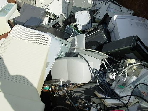 Pile of old computers. Photo.