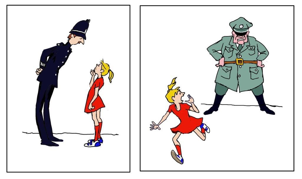 Politiets måte å stå på. Illustrasjon.