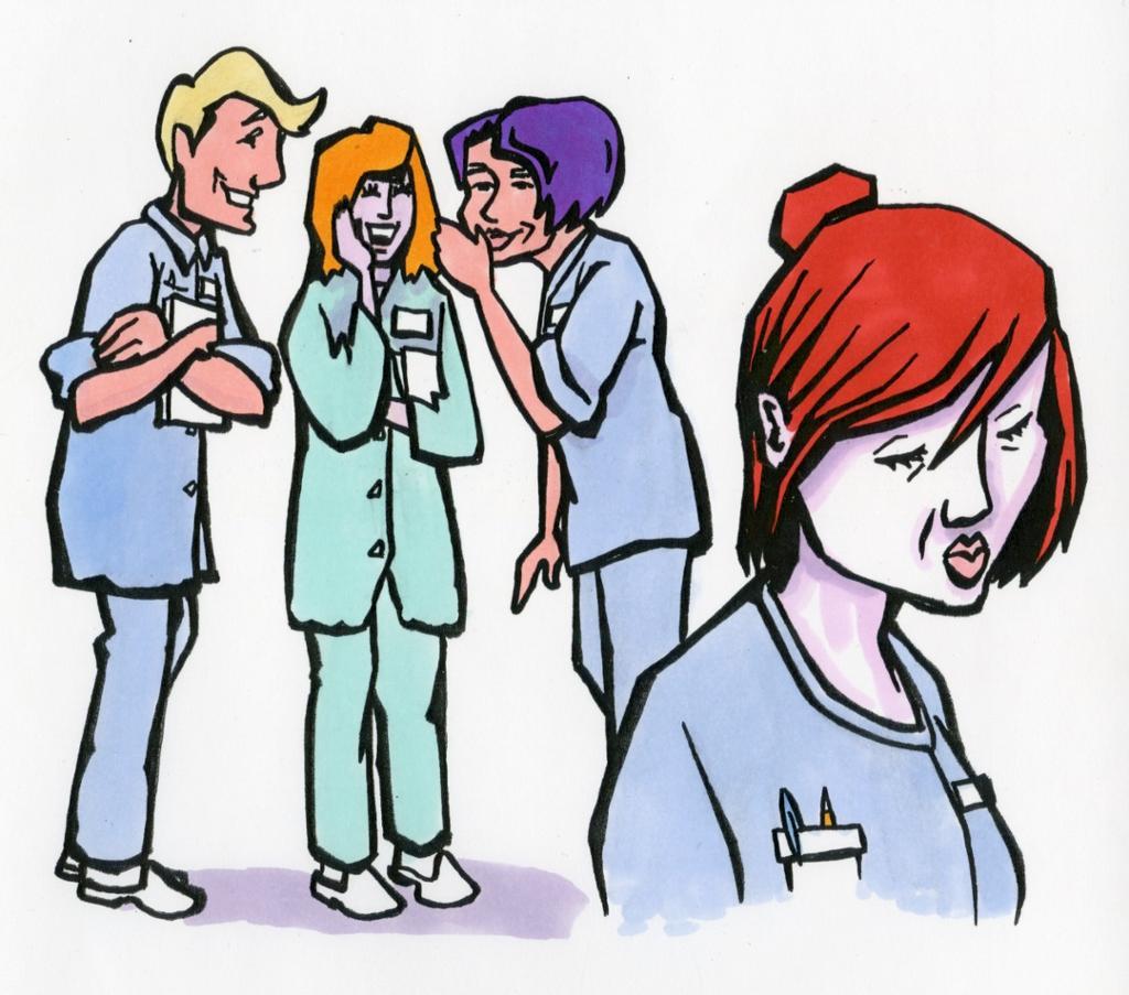 Tre personer baksnakker kollega. Illustrasjon.