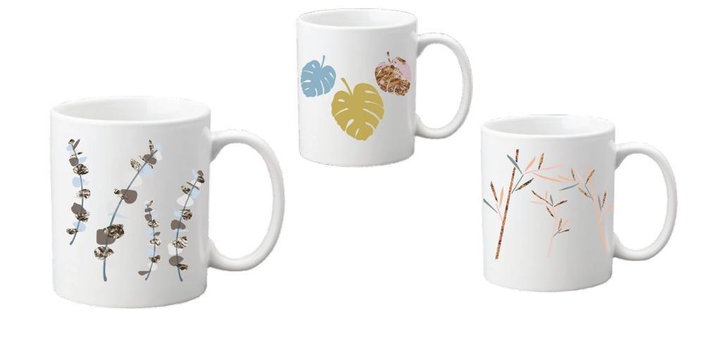 Tre kopper med ulik dekor. Illustrasjon.