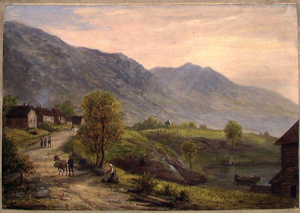 Et maleri som viser en vei gjennom Gubrandsdalen omkranset av høye fjell. På veien går det mennesker og en hest.