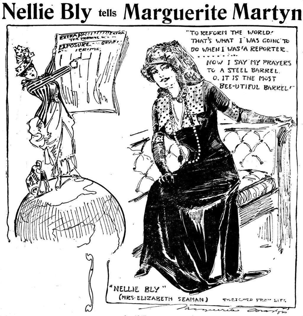 En kvinne sitter på en stol. Til høyre ser vi en globus og en kvinne som peker på en avis. Illustrasjon.