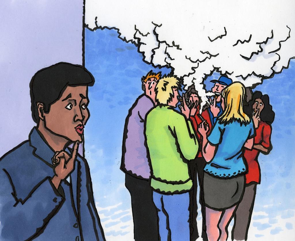 bildet viser elever som røyker i skolegården