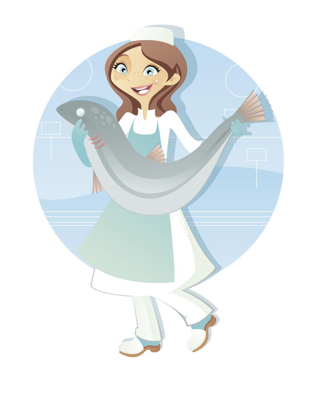 Bilde av en dame som holder en fisk