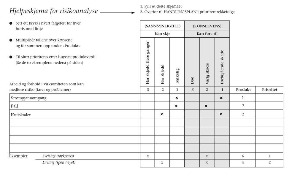 Eksempel på utfylt analyse for bruk i forbindelse med risikovurdering