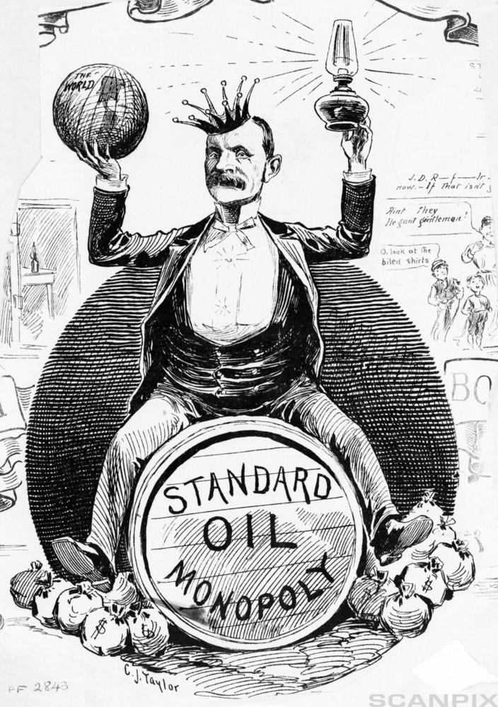 Standard Oil Monopoly Political Cartoon with J.D.Rockefeller as king of the world
