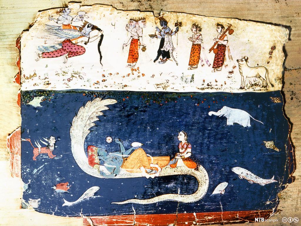 Person med blåfarget hud hviler på ryggen av en fisk sammen med en dame. I havet rundt ulike skapninger. Illustrasjon.