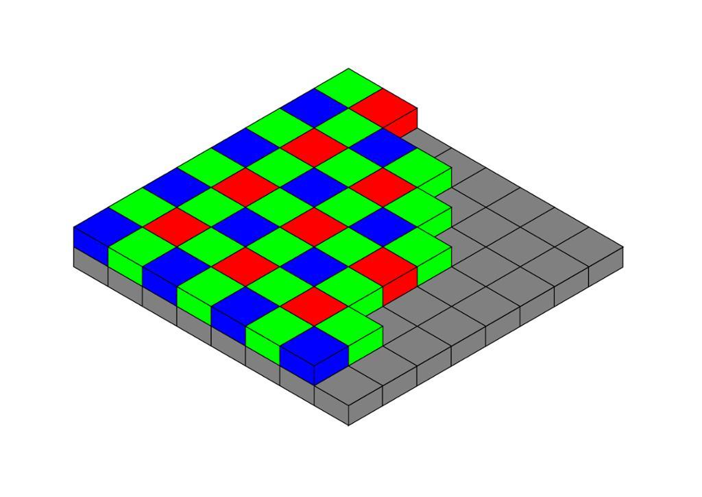 Grå og fargede firkanter stablet i to lag oppå hverandre for å illustrere oppbyggingen av sensor for RGB fargefilter. Illustrasjon.