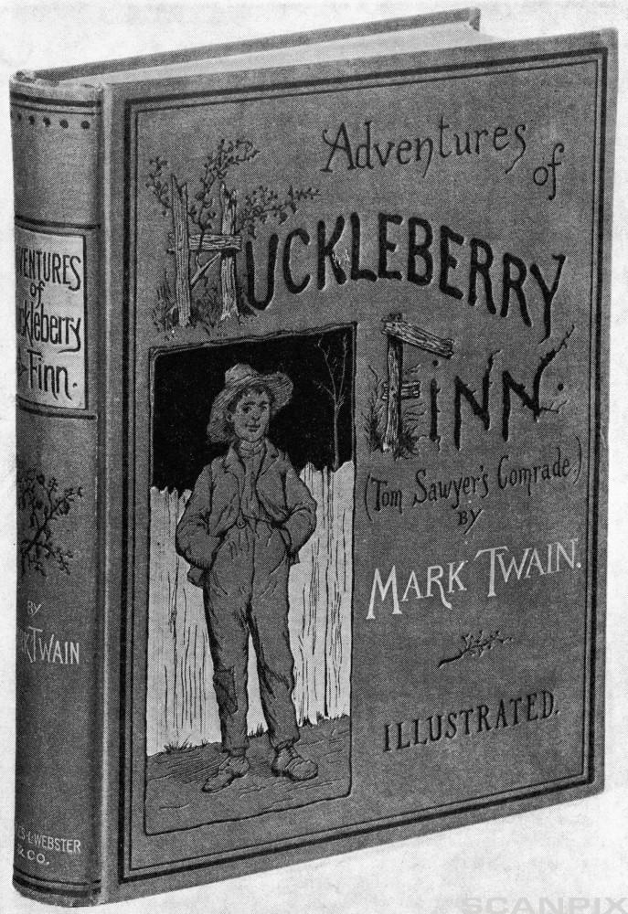 "Original Cover of ""The Adventures of Hucleberry Finn"""
