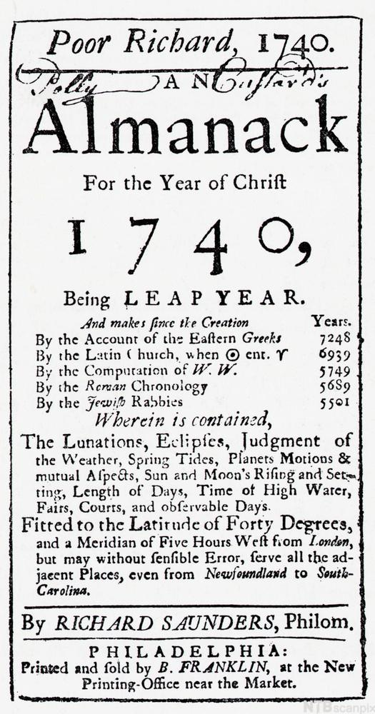 Title Page or Poor Richard's Almanac for 1740