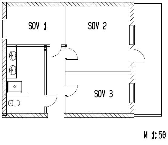 Plantegning i målestokk 1 til 50. illustrasjon.