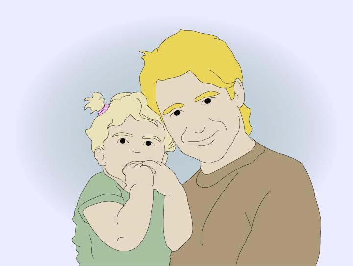 En far som holder opp sitt barn. Bilde