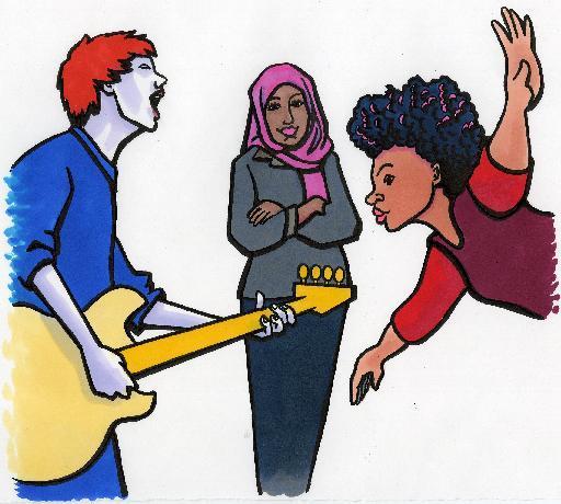 Unge som driver med sang og musikk. Bilde
