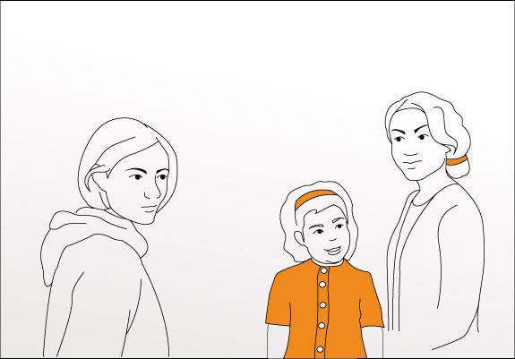 To voksne som står sammen med et barn. Bilde