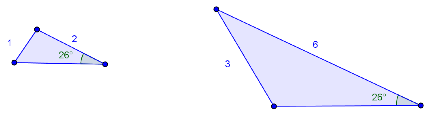 Bilde av to trekanter som ikke er formlike