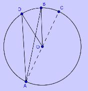 Bilde av en sirkel med periferivinkel og sentralvinkel. Illustrasjon.