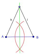 Bilde av en konstruert midtnormal. Illustrasjon