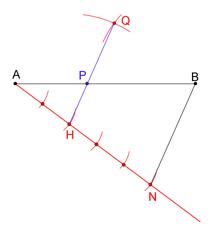 Bilde av figur der det er konstruert deling av linjestykke. Illustrasjon