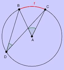 Bilde av en sirkel med sentralvinkel og periferivinkel. Illustrasjon