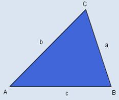 Trekant ABC der vinkel stor A har motstående side liten a. Det er tilsvarende for de andre vinklene. Illustrasjon.