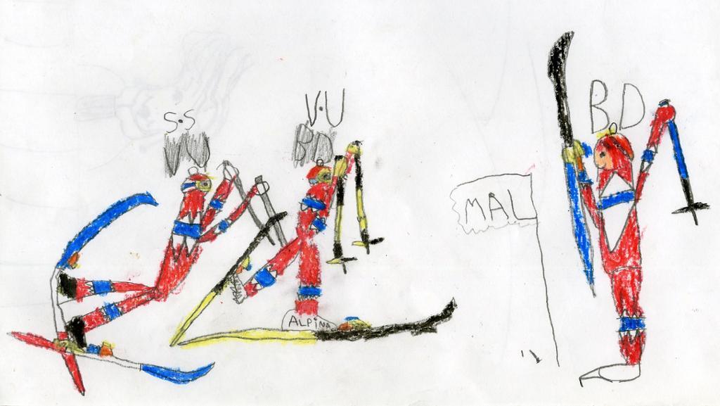 Barnetegning av skiløpere. Illustrasjon.