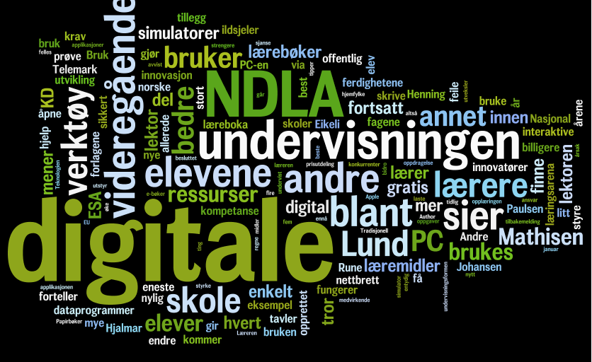 Ordsky med ord som NDLA, undervisning, digitale. Illustrasjon.