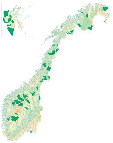 Norgeskart med markering av verneområder. Illustrasjon.