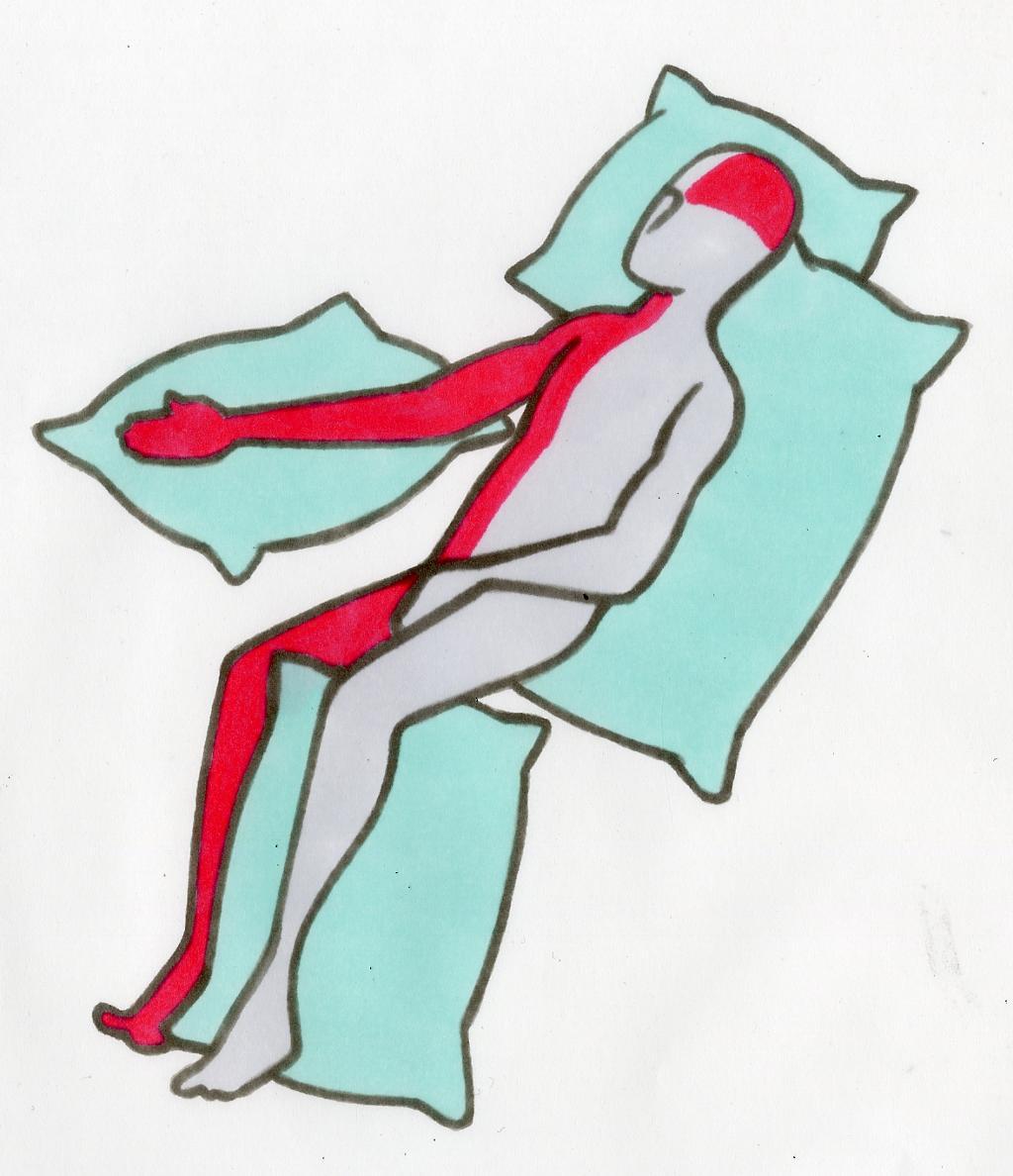 Bildet viser en pasient som ligger i sideleie på lammet eller syk side.