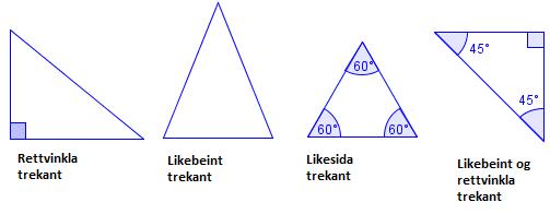 Rettvinkla, likebeint, likesida og likebeint og rettvinkla trekant. Illustrasjon.
