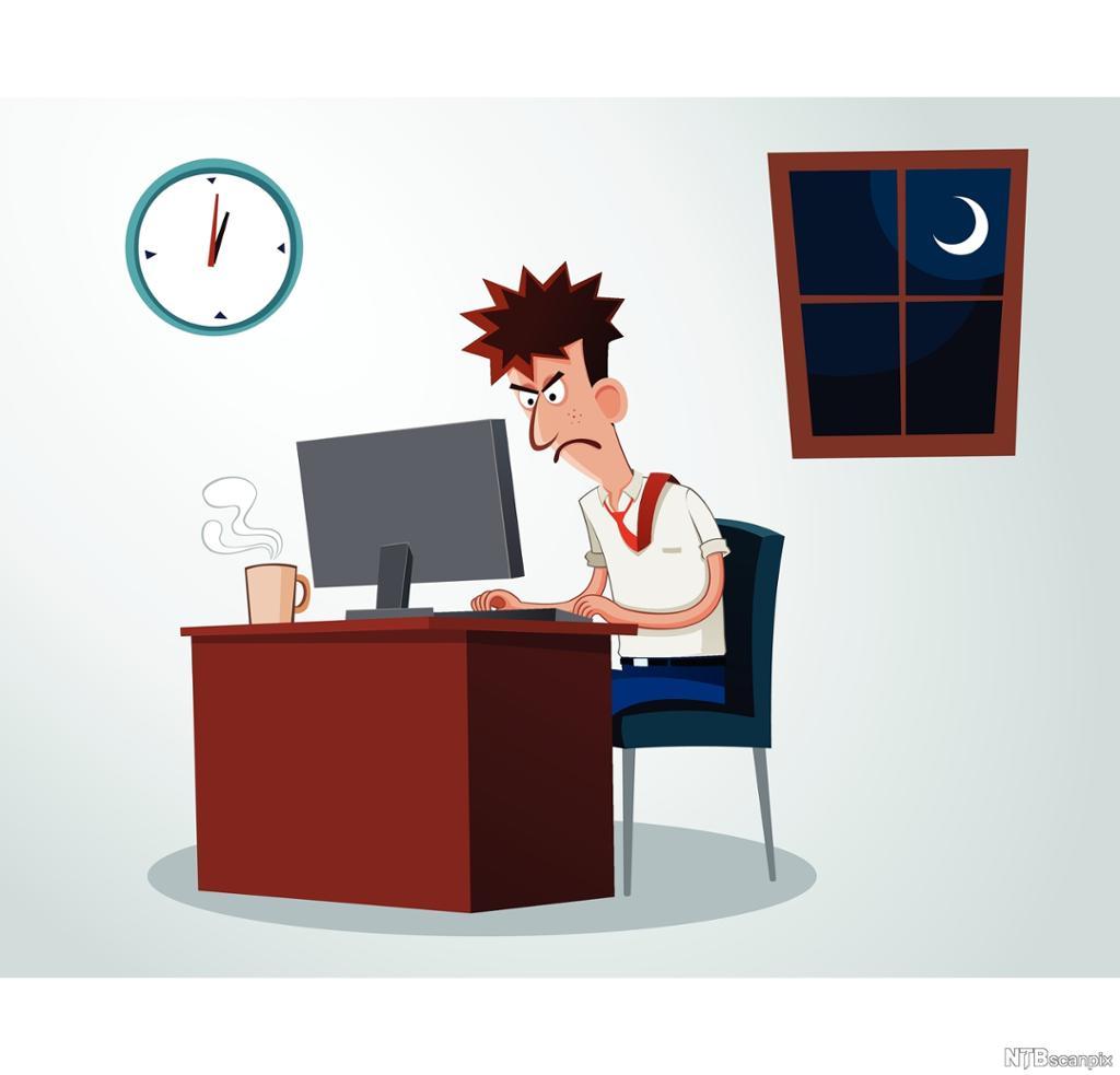 En sur og stresset mann jobber sent på natta. Illustrasjon.