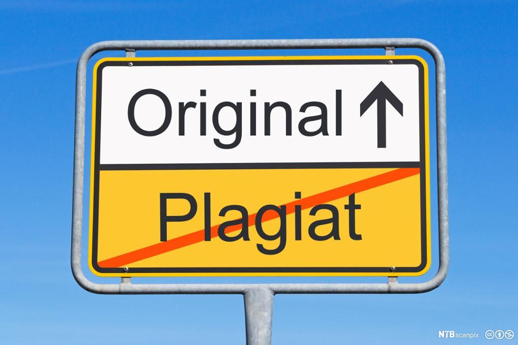 Original kontra plagiat.  Plagiat er strøket over. Bilde.