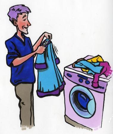 mann vasker klær. Illustrasjon.