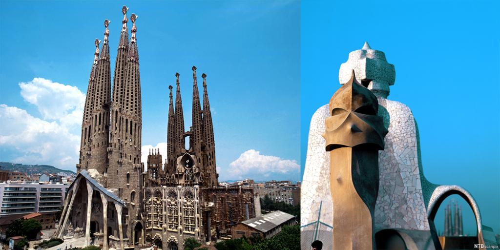 Sagrada Família og detalj av skorsteinen til La Pedrera. Fotokollasj.