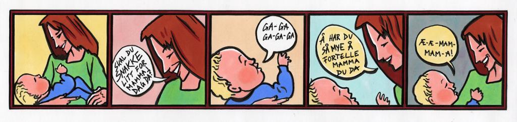 tegneseriestripe som viser en voksen som snakker med en liten baby