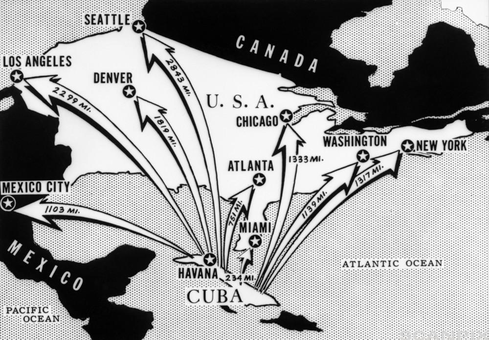 Distances of Major US Cites from Cuba
