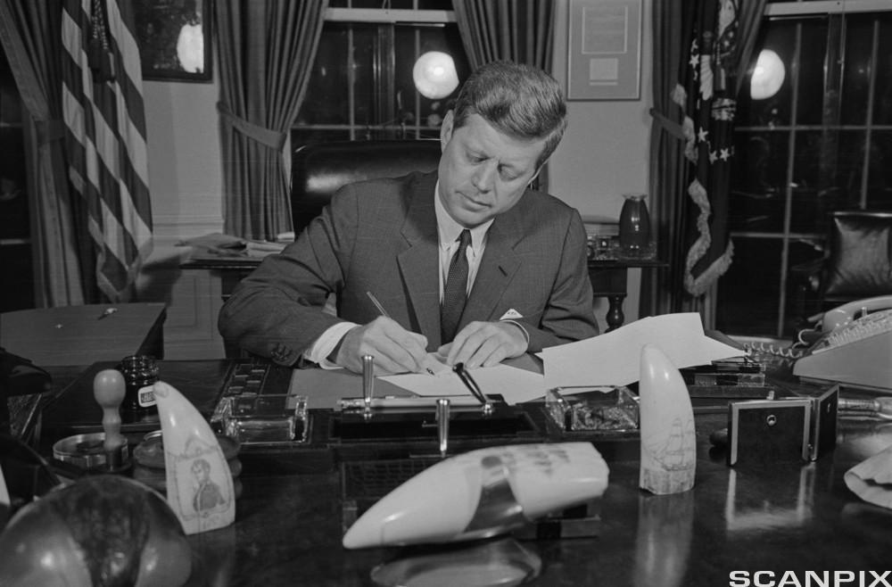 President John F. Kennedy Signing Blockade Order