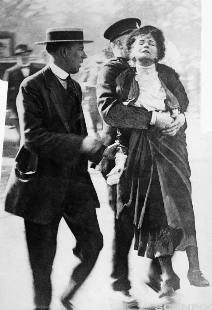 Emmeline Pankhurst Carried by Officer