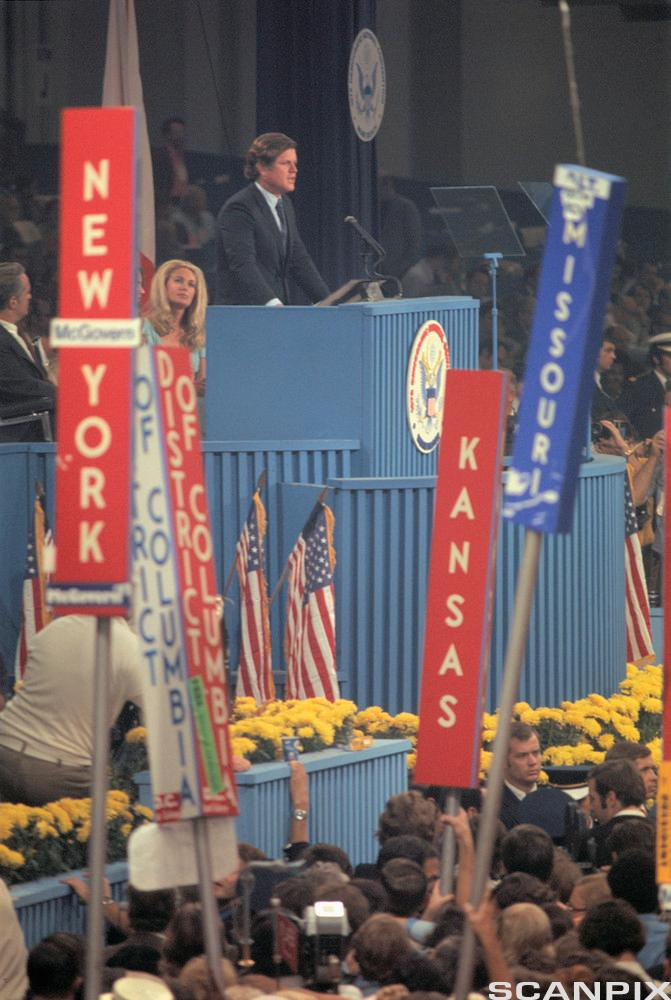 Edward Kennedy holding a speech at the Democratic National Convention in Florida in 1972