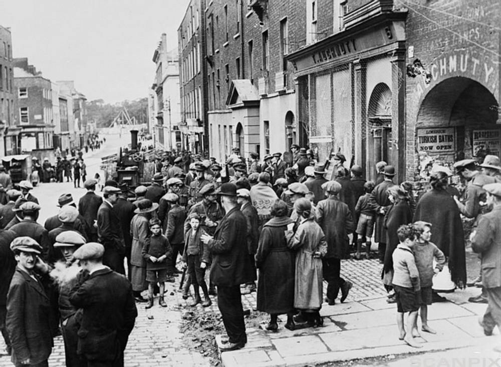 Crowded Street in Limerick, Ireland in the 1920s