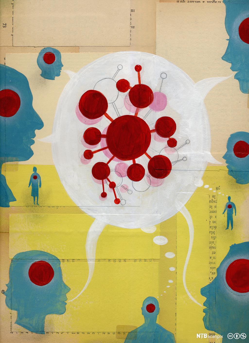 Personar samtaler og deler tanker med hverandre. Illustrasjon.