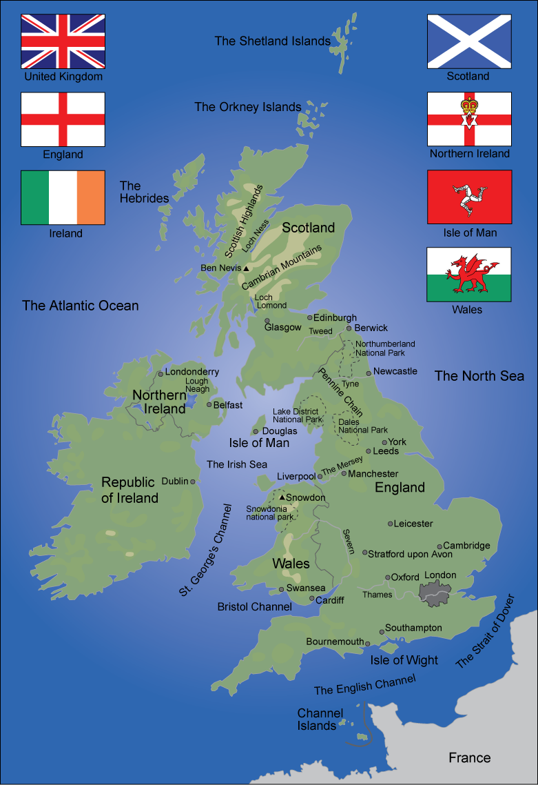 Map over The British Isles. Illustration.
