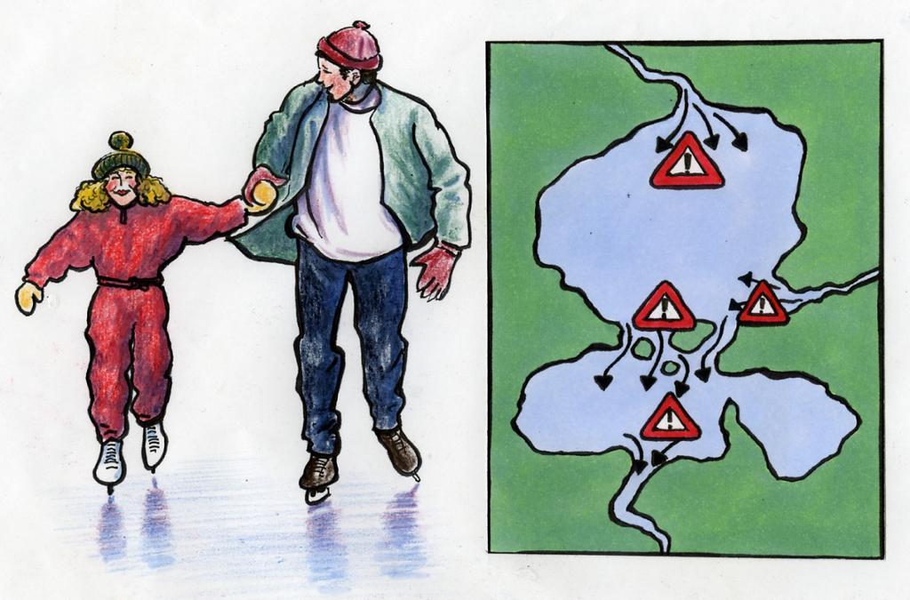to personer som går på skøyter på isen.ilustrasjon