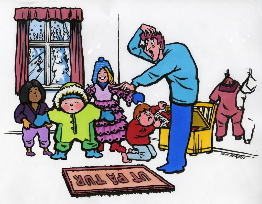 Barne- og ungdomsarbeidar som skal ta med barn ut på tur. Teikning.