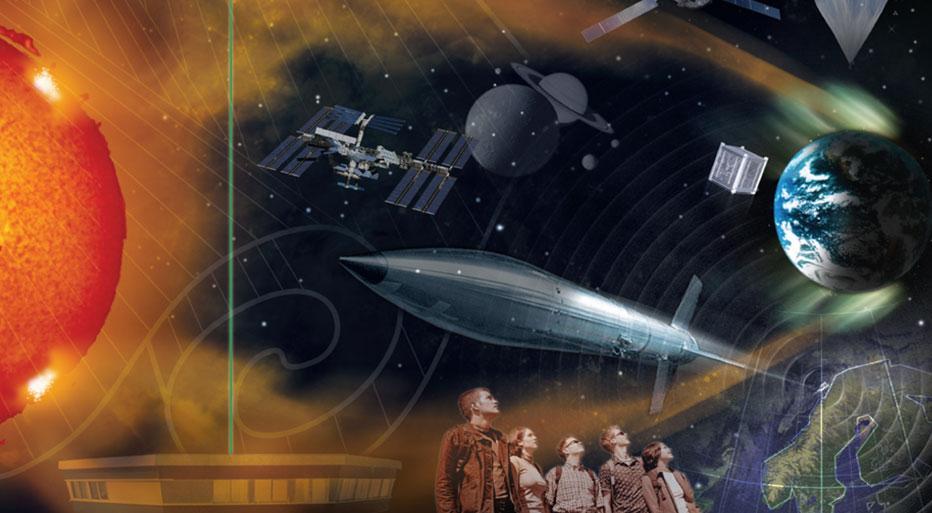 Sammenstilling av ulike måter å utforske verdensrommet på. Illustrasjon.