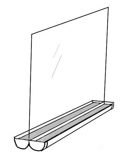 Vindusfelle av blankt glas og takrenner. Illustrasjon.