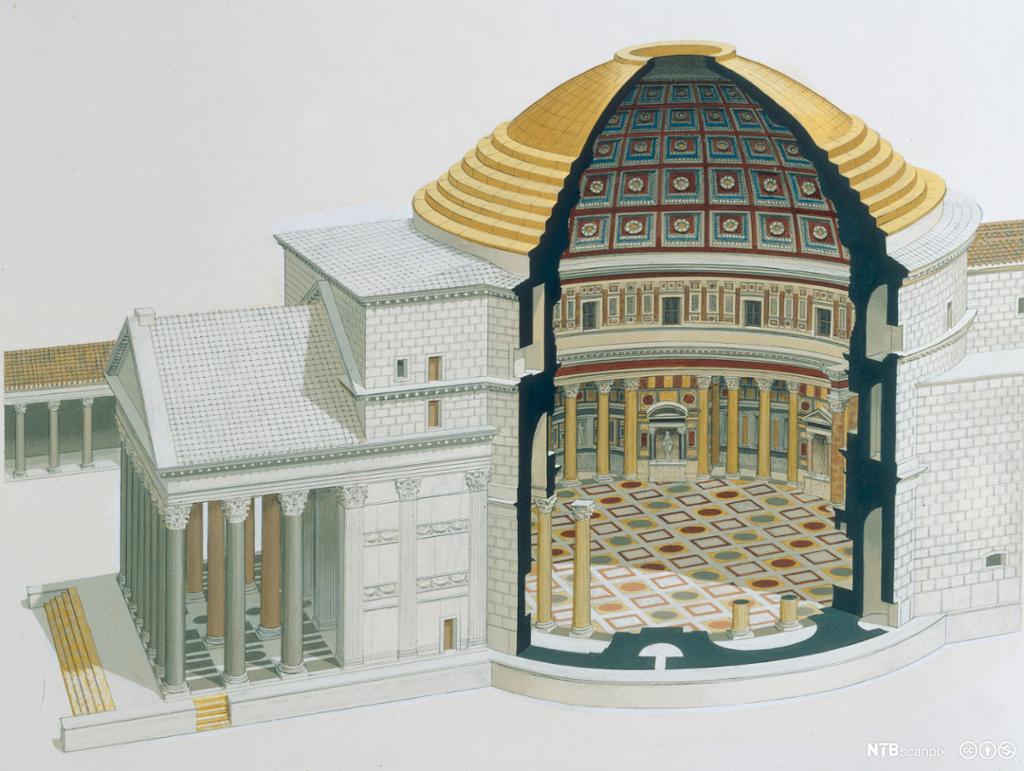Rekonstruksjon av Pantheon i Roma.Illustrasjon.