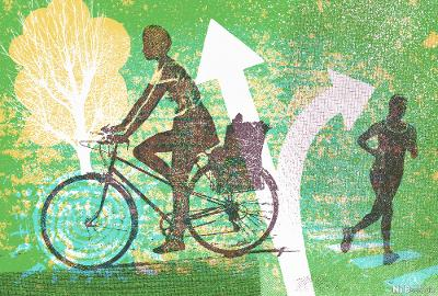 Silhuetter av to kvinner som sykler og løper på grafikk med piler og ruter. Grafikk.
