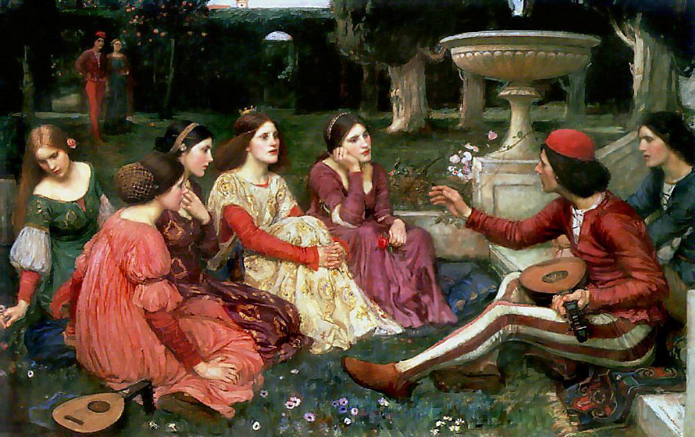 Unge jenter i vakre kjoler og en musiker med lut. Maleri.