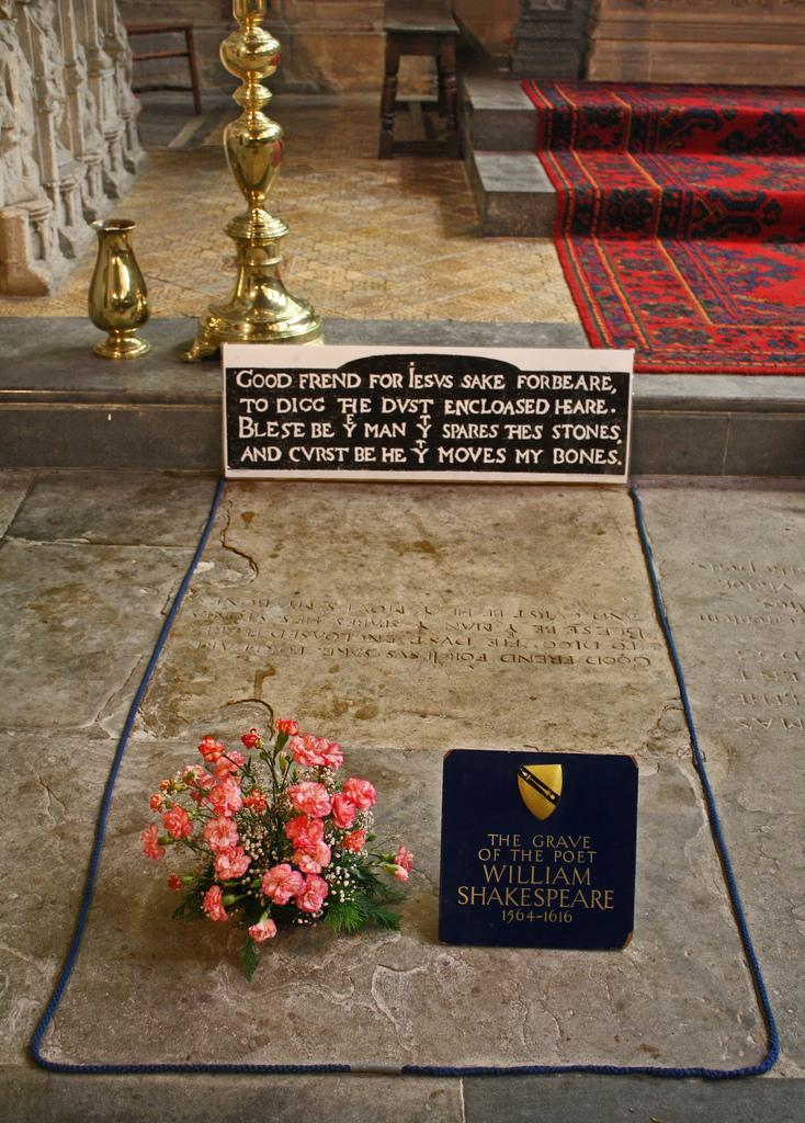William Shakespeare Grave. photo.